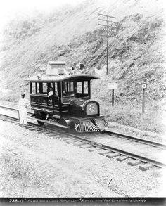 Panama Canal Motor Car, rails, photo, black and white, history, on rails, railway, photograph, vintage