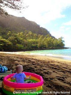 What to do with a baby at the beach. Tip: Buy a cheap, blow up baby pool to sit your baby in at the beach. #AwayWeGo