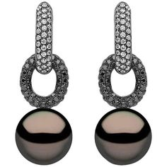 Preowned Yoko London Black Gold With Tahiti Pearls, Black And White... ($9,151) ❤ liked on Polyvore featuring jewelry, earrings, drop earrings, white, diamond earrings, white diamond earrings, yellow gold diamond earrings, diamond drop earrings and round diamond earrings