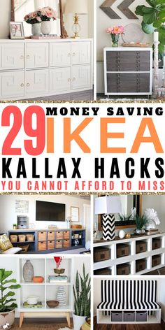 29 Ikea Kallax Hacks That Will Blow Your Mind! 29 Money Saving Ikea Kallax Hacks That Will Blow Your Mind! Thes budget home decor hacks will help you get organized & make your home look fabulous ona budget! Diy Home Decor Rustic, Diy Home Decor On A Budget, Cheap Home Decor, Budget Home Decorating, Home Decor Hacks, Home Decor Styles, Life Hacks Diy, Diy Hacks, Tv Ikea