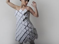 Amila Hrustic geometric paper dress