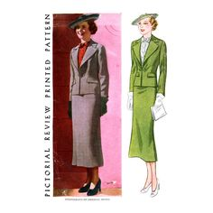 1930s Suit and Gilet Pattern Bust 42 Pictorial Review 8345 Straight Skirt Fitted Jacket and Dickey Womens Vintage Sewing Patterns by CynicalGirl on Etsy