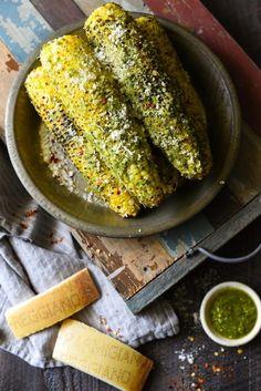 Grilled Parmesan-Pesto Sweet Corn - 4 ingredients. 8 minutes cook time. The best summer side dish ever!   http://foxeslovelemons.com