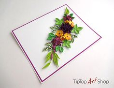 Homemade Birthday Quilling Card with Paper Flowers