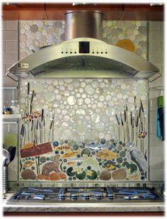otter in marsh marigolds ceramic tile mosaic backsplash