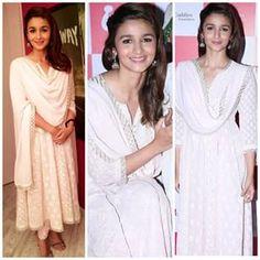 Alia bhatt in beautiful Chikanakari suit . Pure Georgette with Mukaish Kamdani work
