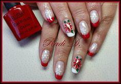 Bluesky Gel Polish 535, 501, 521  http://radi-d.blogspot.com/2014/12/christmas-poinsettia-on-gel-polish.html