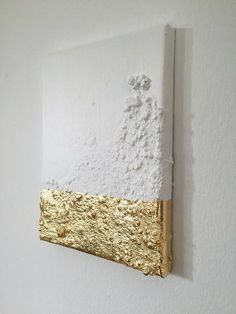 Modern contemporary gold white painting on canvas Interesting looking painting with gold leaf and changing reflections. It is an original unique painting on canvas. Acryl/ painters' filling/ gold on canvas 18 x 24 x cm/ 2017 Please note: In case of Diy Wall Art, Diy Art, Wall Decor, Art Feuille D'or, Abstract Canvas, Canvas Art, Painting Abstract, Acrylic Paintings, Painting Art