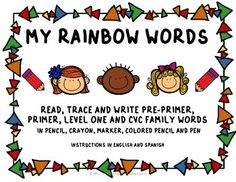 This packet is ideal for Kindergarten,1st and 2nd Grade.Student will have fun while learning their sight words as they, read, trace and write their words using pencil, crayon, marker, colored pencil and pen.With directions in English and Spanish, this packet can be used for homework, morning work, literacy centers, word work.Sight Words included in this packet are:Pre-primer WordsPrimer WordsLevel One WordsCVC Family Words: ab, ad, ag, am, an, ap, at, ed, eg, en, et, ib, id, ig, im, in, ip, ...