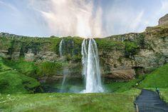 Seljalandsfoss Waterfall, Iceland - The iconic Seljalandsfoss waterfall in south Iceland - july 2016