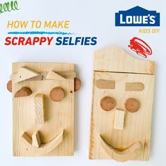 With scrap wood and wood glue you can create a fun and easy DIY scrappy selfie with your kids.