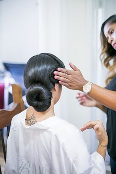 Bridal hair prep! The bun that stayed in place :)  Photo from MIA & DORELL WEDDING collection by Scott Clark Photo Inc.