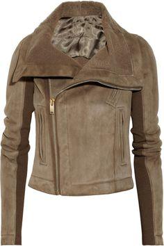 Rick Owens|Shearling-lined leather biker jacket|NET-A-PORTER.COM