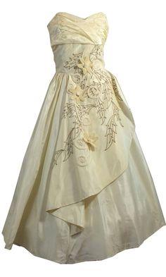 Elegant Ivory Taffeta Dress w/ Flower Appliques, Soutache and Rhinestones circa…