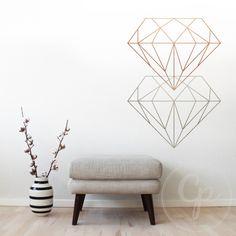 Diamant wallsticker - sæt flere sammen og det giver en cool grafisk effekt på din væg