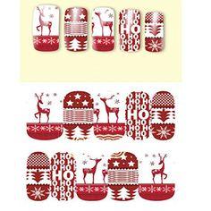 FENICAL 10pcs Nail Art Stickers arbre de Noël/Deer concevoir Noël neige Nail Art autocollants Stickers décoration: Léger pour transporter…