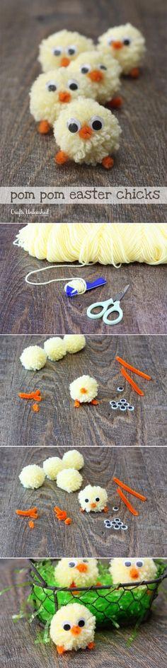Pollitos de Pascua para hacer con pompones - DIY Pom Pom Easter Chicks