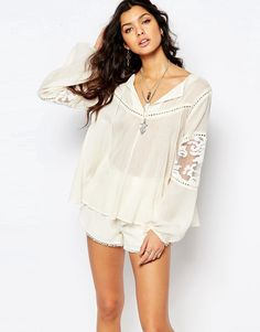 Image 1 ofStevie May Cream Organza Mix Billowing Sleeve Top in Cream