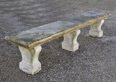 Large garden bench in white Carrara marble from the 18th century #frenchantiques #18thcentury #antique #garden #french