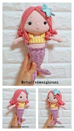 Crochet Doll Tutorial, Crochet Doll Pattern, Crochet Dolls, Crochet Patterns, Crochet Hats, Crochet Parrot, Crochet Mermaid, Crochet Baby Toys, Free Crochet