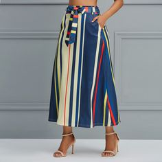 Skirt Fashion Outfits, Fashion Trends, Fashion Skirts, Fashion Fall, Fashion Women, Stripe Print, Street Style Women, Clothes For Women, Beauty Buy