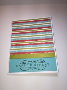 I love using bright colors on birthday cards. And twill tape is one of my favorite types of ribbon.