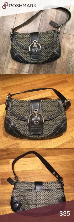 "Coach purse COACH purse, GUC.  👜 Buckle is for aesthetic purposes, magnetic snap behind it secures the purse.   Leather, fabric and stitching all in great condition.  Minor finish rubbed off at corners of bottom, and some scratches on metal areas.   10"" wide x 6.5"" tall x 2"" deep (2.5"" at corners).  Zipper pouch inside. Coach Bags Mini Bags"