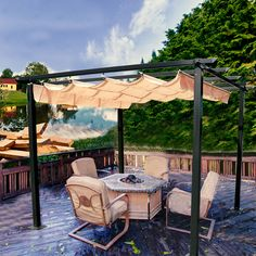 NEW Patio Pergola Canopy is coming Wicker Patio Furniture, Patio Chairs, Garden Irrigation System, Grape Trellis, Outdoor Seating, Outdoor Decor, Gazebo Canopy, Outdoor Gardens, Outdoor Living