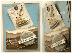 from Cecile Ortiz (lezards de cilou canalblog) -- Stampin Up's Open Seas stamp set