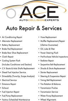 Auto Repair Services >> 16 Best Ace Automotive Repair Services Images Auto Collision