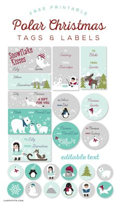 Free KIDS Printable Polar Christmas Tags Labels