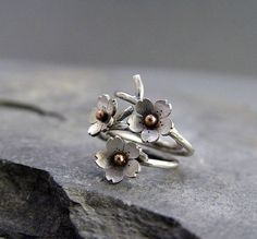 Cherry+Blossom+Branch+Adjustable+Ring+in+Silver+by+HapaGirls,+$39.00