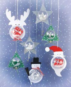 Des boules de Noël sympa a faire avec des boules transparentes: