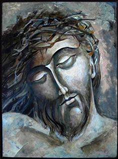 Head of Christ, a Tempera Painting on Wood, by Mary Jane Miller