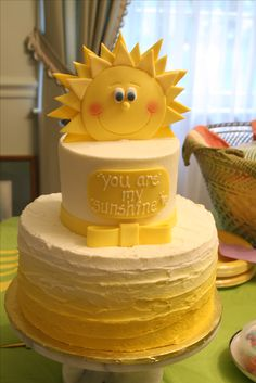 You Are My Sunshine Baby Shower cake.  Buttercream icing in yellow ombre, fondant decor