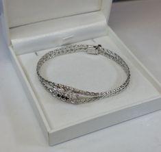 50er Jahre Armband Silber 835 und 3 Saphire SA303 von Schmuckbaron