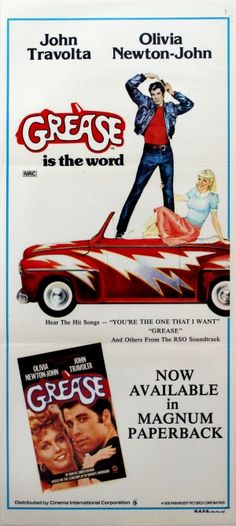 Grease Travolta Newton John, 1978 - original vintage movie poster for the teenage musical romance film, starring John Travolta as Danny (T-Birds) and Olivia Newton-John as Sandy (Pink Ladies), listed on AntikBar.co.uk