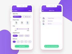 Real Estate App UI Kit Design Filter Screens - App Templates - Ideas of App Templates - Real Estate App UI Kit Design 'Filter' Screens Design Web, App Ui Design, Survey Design, Design Color, Interface Design, Flat Design, User Interface, Mobile App Design, Mobile App Ui