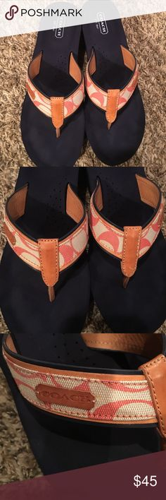Coach wedge flip flop Maybe worn 4 times lightly . Beige and pink and navy blue. Great for semi dress or casual . Size 9 Coach Shoes Sandals