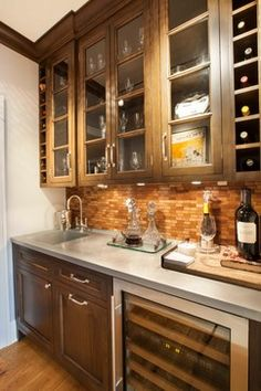 Zinc butler's pantry countertop with square integral sink. Novenstein - transitional - Basement - New York - John Johnstone Transitional Living Rooms, Transitional Kitchen, Transitional Decor, Kitchen New York, Kitchen Dining, Dining Room, Zinc Countertops, Wine Station, Butler Pantry