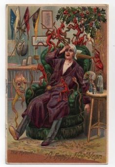 Yup, this is what January 1st feels like. | 17 Strange And Creepy Vintage New Years Cards