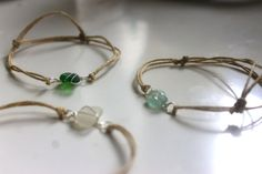 Handmade Recycled Seaglass Bracelet with Hemp Chord by MarineJess