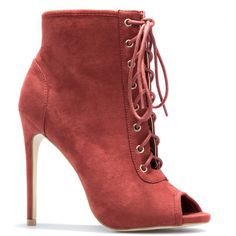 ShoeDazzle Booties Laurita Womens Red ❤ liked on Polyvore featuring shoes, boots, ankle booties, booties, red, peep-toe ankle booties, lace up bootie, lace up ankle booties, lace up peep toe boots and short boots