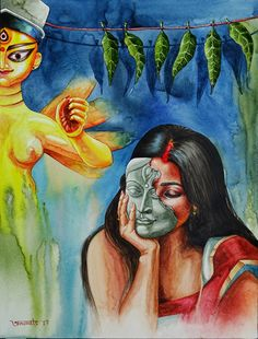 Durga Maa Paintings, Durga Painting, Madhubani Painting, Indian Artwork, Indian Art Paintings, Art Painting Supplies, Bengali Art, Composition Painting, Mandala Art Lesson
