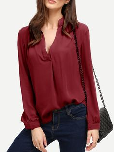 Blouse col V - borde