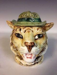 Majolica-Tiger-Head-With-Hat-Dick-Tobacco-Jar-Humidor