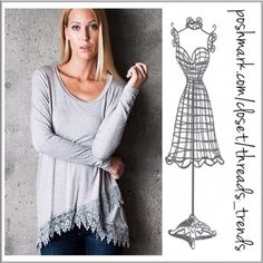 Crochet Lace Tunic Basic heather grey tunic with a twist. Featuring a scoop neck and crisscross crochet lace hemline. Made of rayon and spandex. Pair with leggings, skinny pants or denim. Size S, M, L chiffon Threads & Trends Tops Tunics