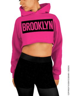 "Use coupon code ""pinterest"" Brooklyn - Pink Cropped Hoodie by DentzDenim"