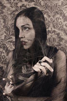 Under A Dark Veil  FREE SHIPPING Print Damask Goth by caryndrexl, $25.00