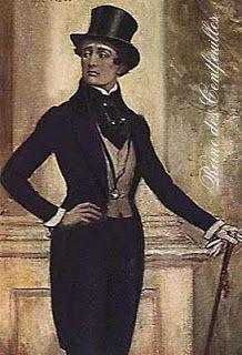 """Império Iniciou-se o uso da bengala, o novo símbolo da elegância. Após 1819, as roupas dos dandis ficaram ainda mais extravagantes: as cartolas ficaram com a copa mais larga que a aba, as extremidades dos colarinhos chegavam quase até os olhos, as calças terminavam logo acima das botas, o plastrom ficou mais apertado e mais alto e a cintura passou a ser afinada com corsets. O corset masculino era chamado de """"cinta"""" ou """"vestes"""", já que a palavra """"corset"""" soava muito feminina."""